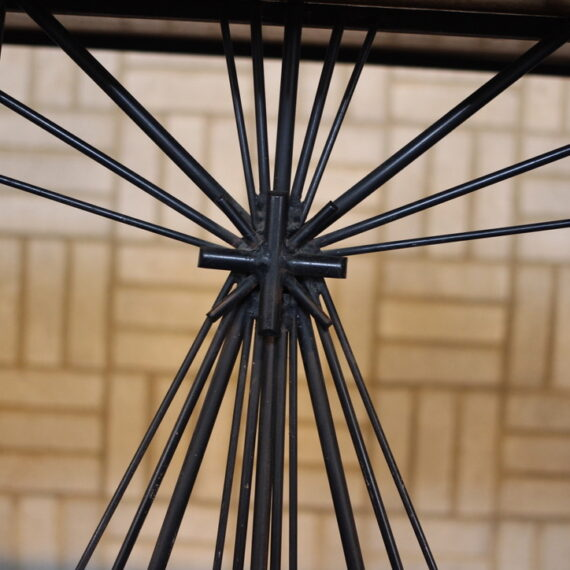 Wrought Iron and Wood. 101cm H x 245cm W x 76cm D