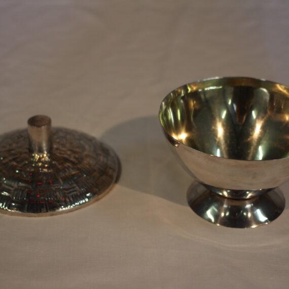 Sterling Silver, Gold Plated inside 13cm H x 14cm W x 14cm D. Base signed 'V Marek' Sterling Silver