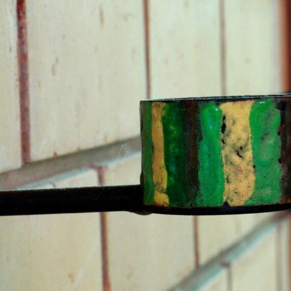 Copper with enamel. 5cmH x 8cmW x 8cmD