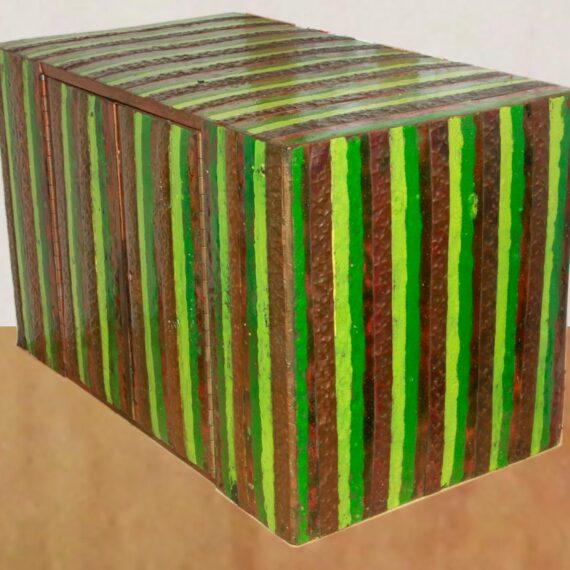 Enamel on copper over plate steel. 46cmH x 29cmW x 26cmD