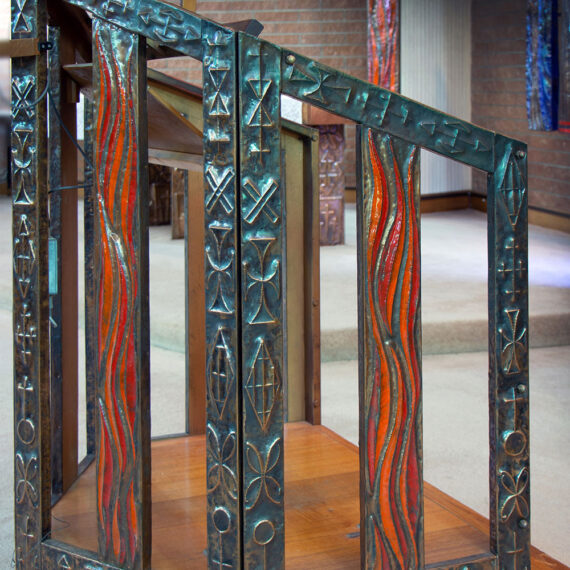 Wood and beaten copper with black oxide patina, polished highlights and enamel, lacquered. Wood. 153cmH x 101cmW x 108cmD