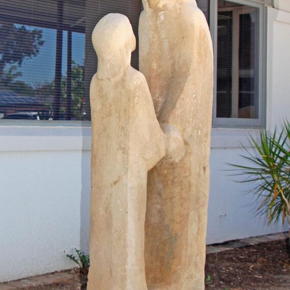 Carved Waikerie limestone. 195cmH x 80cmW x 40cmD