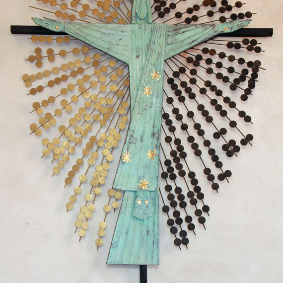 Beaten copper with green oxide patina and gold leaf plus black and gold painted steel rods and discs. Wooden cross painted black. 300cmH x 200cmW x 15cmD.