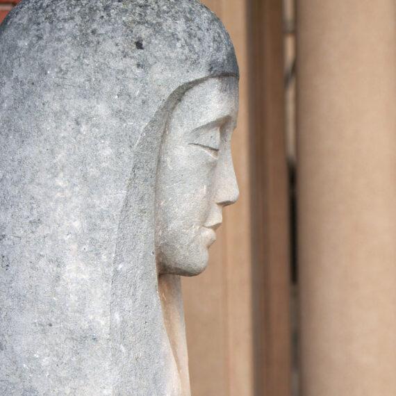 Carved Waikerie limestone. 205cmH x 53cmW x 30cmD