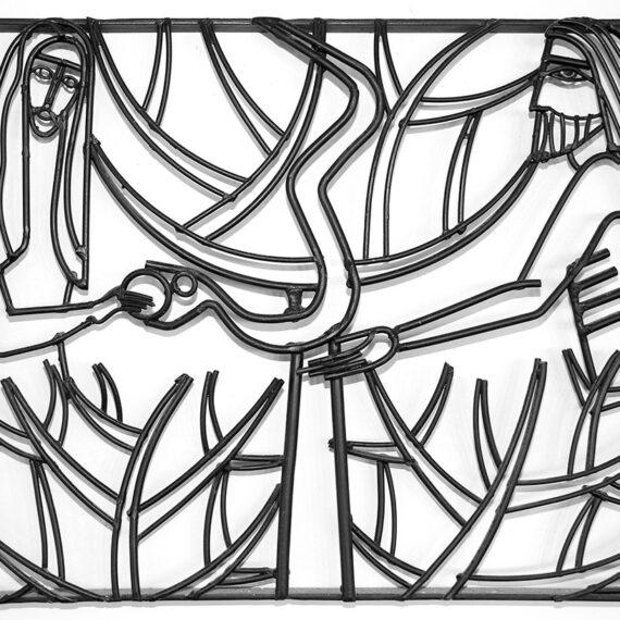 Welded Steel Rods, painted black. 45cmH x 60cmW x 3cmD